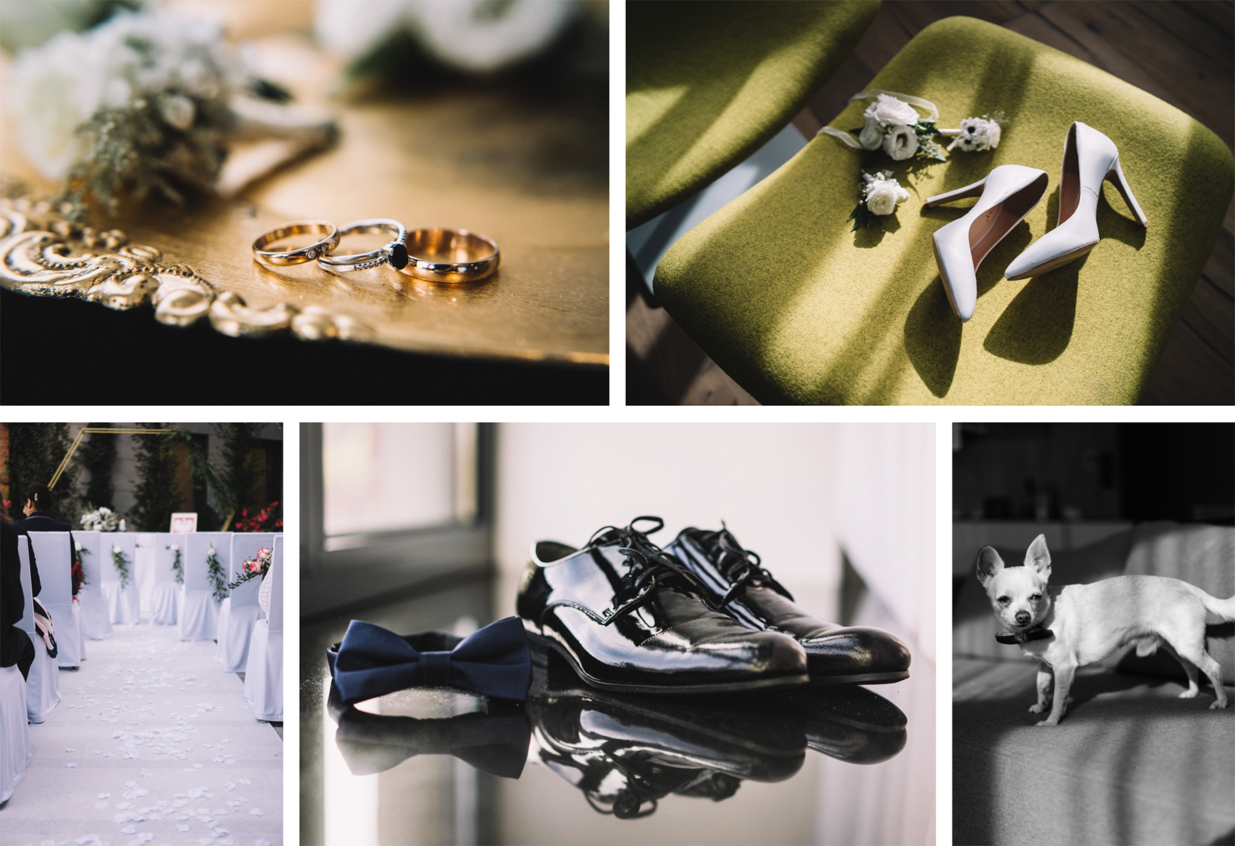 przygotowania błogosławnieństwo wnętrza pałacu malina detale w fotografii ślubnej buty kwiaty suknia piesek
