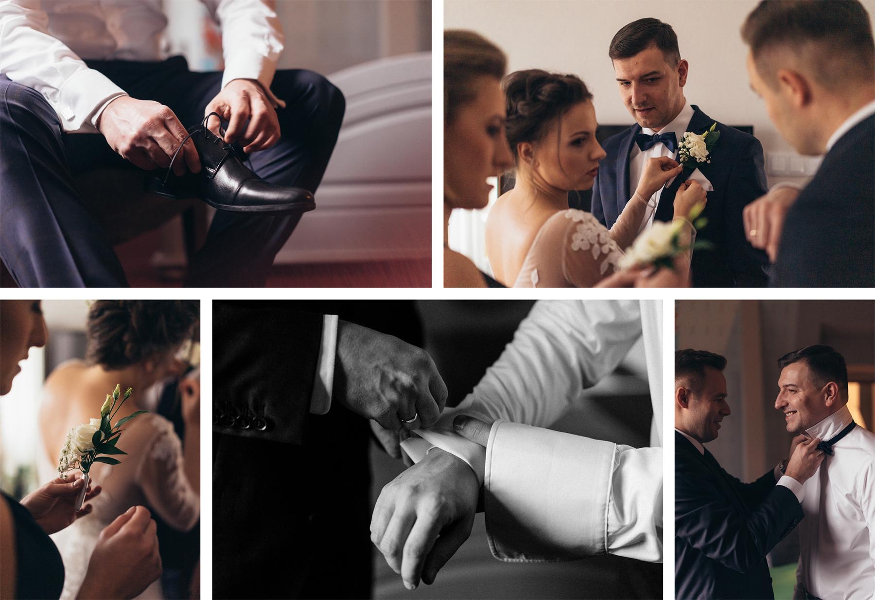 przygotowania panna młoda pan młody świadkowa świadek ślubu przypinanie bukiecik do butonierki