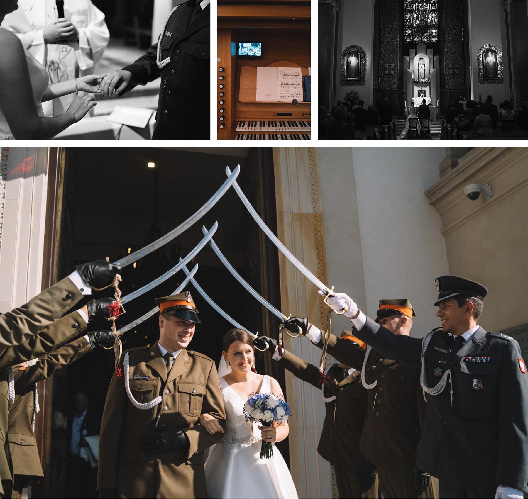 ślub kościelny katedra polowa wojska polskiego piękny kościół ślubowanie ślub mundurowy fotografia ślubna fotograf ślubny warszawa praga łódź